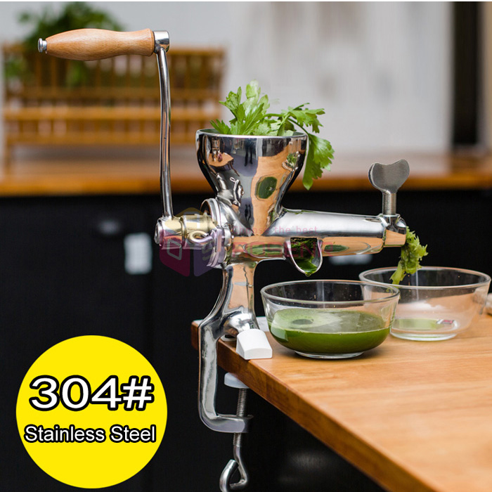 Hand Crank Slow Juicer : Stainless Steel Wheat Grass Leafy vegetable Juicer Hand Crank Manual Extractor eBay